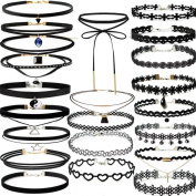 SamMoSon 22 Pieces Choker Necklace Set Stretch Velvet Classic Gothic Tattoo Lace Choker Necklaces for Women Girls