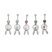 5 Pcs Surgical Stainless Steel Dream Catcher Crystal Belly Button Ring
