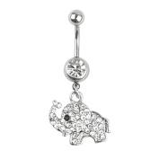 Zhichengbosi 316L Steel Elephant Navel Belly Button Ring Body Ring Bar