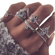 Gluckliy 8 Pcs Womens Crystal Alloy Knuckle Rings Set Vintage Finger Rings Women Jewellery Accessories