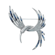 Silver Sapphire Hummingbird Brooch With Free Silver Plated Ball Stud Earrings