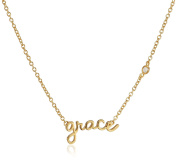 """Shy By Sydney Evan Sterling Silver Yellow Gold Plated """"Grace"""" Necklace Diamond Bezel of 41.275cm"""