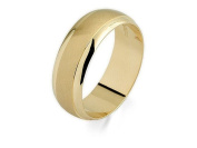 F.Hinds 9ct Yellow Gold Satin And Polished Wedding Ring 7mm Jewellery Men Gift