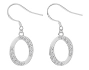Silver Initial Fish hook Earrings with CZ crystals by BodyTrend - packed in a lovely velver pouch - many alphabtes available