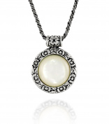 Antique Style Floral Design Round Gemstone Necklace with 925 Sterling Silver Twisted Foxtail Chain, 50cm