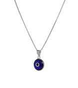 CHOOSE YOUR CHARM - Silver Evil Eye Necklace with Evil Eye Protection Charm on 925 Sterling Silver 50 CM Box Chain
