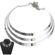 Women Silver Fashion Punk Metal Charm Choker Chunky Bib Pendant Necklace Party