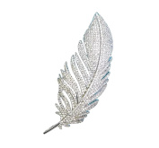 High-end feather shape men's and women's brooch pins bling bling zircon rhinestone brilliant lapel pin
