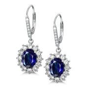 MASOP Princess Diana William Kate Middleton's Blue Sapphire 925 Sterling Silver Drop Earrings/Earrings Necklace Jewellery Set