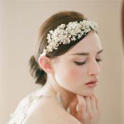 Cereoth Bridal Flower Wreath Rhinestone Crown Garland Floral Pearl Headband Wedding Festivals Accessory