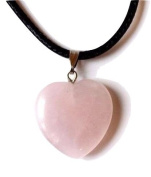 Reiki Energy Charged Rose Quartz Crystal Heart Pendant with Cord