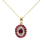 Ivy Gems 9ct Yellow Gold Ruby and Diamond Cluster Pendant with 18 Inch Rope Chain of 45cm