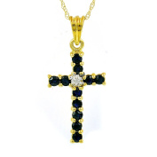 Ivy Gems 9ct Yellow Gold Sapphire and Diamond Cross Pendant with 46cm Chain