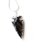 Reiki Energy Charged Electro plated Black Obsidian Crystal Arrowhead Pendant with Snake Chain