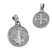 Pendant religious Inscription Saint Benedict Medal, Blackened, 925 silver