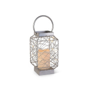 The Gerson Company LED Lighted Wild Wire Square Metal Lantern