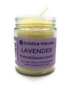 Lavender Scented All Natural 100% Pure Beeswax Aromatherapy Candle Made with Essential Oil, 270ml - Great for Home Bathroom Living Room Office Study Yoga Spa
