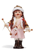 Girl With Trekking Poles Bisque Porcelain Doll on Stand Vintage Collectible 30cm