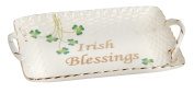 Nantucket Home Irish Blessings Basketweave Clover Ceramic Tray with Handles, 18cm