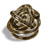 The Infinity Knot, Art Glass, Table Top Sculpture, Clear With Chestnut Brown Core, Artisan Crafted, Hand Blown, 8.9cm , By Whole House Worlds