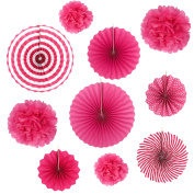 Set of 10 Rose Red Paper Fans Rosettes Hanging Ornament Birthday Party Wedding Decorative