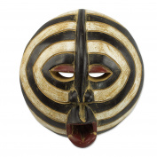 NOVICA Ghanaian Handmade Beige and Black Sese Wood Mask, 'Baluba Rings'