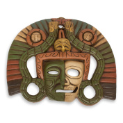 NOVICA Decorative Ceramic Wall Mask, Brown Tan and Green, 'Aztec Duality'