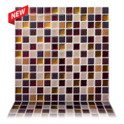 Tic Tac Tiles - 30cm x 30cm Premium Anti Mould Peel and Stick Wall Tile in Square Maple