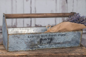 Vintage Tool Box Tray Carrier Galvanised Steel Cloverfield Dairy Farm / Barn Style with Wood Handle