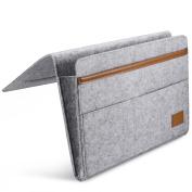 Bedside Caddy Felt & Leather Bed Bedside Organiser Pocket with Strong Hook and loop Closure for Bedroom, College Dorm Room, Bunk