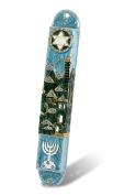 Gold Plated Enamel Jerusalem Panorama, Menorah, Star Of David 13cm Door Mezuzah From Israel
