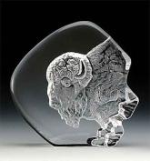 Engraved Lead Crystal -- Buffalo Head