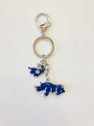 Feng Shui Bejewelled Blue Rhinoceros and Elephant Amulet for Anti Burglary USA Seller