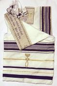 "Messianic Tallits prayer Shawl Covenant Messianic tallit prayer shawl ""Tallit"" 180cm x 60cm . Purple messianic Jewish christian tallits with Hebrew wording from Israel"