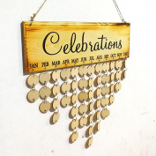 Wood Plaque Calendar DIY Hanging On Wall Birthday Reminder Board Sign Family Friends Home Decor