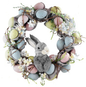 Pastel Easter Eggs with Bunny Wreath - 46cm