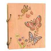 Cossyhome Butterfly 4x 6 Photo Album Book 120 Pockets Picture Albums 10cm x 15cm Wood Frame Cover