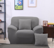 Grey High Elasticity Fabric Sofa Slipcover Couch Cover Protector for One-Seater 35-140cm Chair