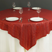 BalsaCircle 150cm x 150cm Red Sequin Table Overlays - Wedding Reception Party Catering Table Linens Decorations