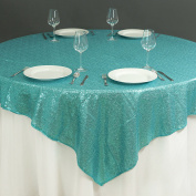 BalsaCircle 150cm x 150cm Turquoise Sequin Table Overlays - Wedding Reception Party Catering Table Linens Decorations