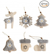 Christmas Tree Ornaments Set,Fashionclubs Rustic Xmas Tree Hanging Wooden Ornaments Charms Pendant Decoration,6pcs/set,Christmas Snowflake,Gloves,Bell,Shoes,Tree,Deer Ornamnents