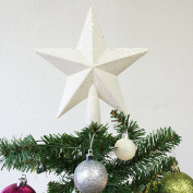 Christmas Elegance 20cm H Star Tree Topper With Glitter Christmas Tree Decoration - White