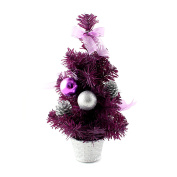 30cm Mini Desk Top Table Top Decorated Christmas Tree with Bows & Baubles Ornaments Decorations, Purple