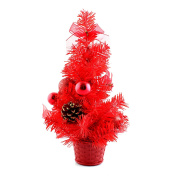 30cm Mini Desk Top Table Top Decorated Christmas Tree with Bows & Baubles Ornaments Decorations, Red