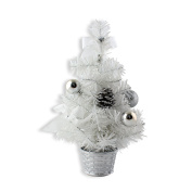 30cm Mini Desk Top Table Top Decorated Christmas Tree with Bows & Baubles Ornaments Decorations, White