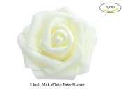 Fake Flower Heads in White 7.6cm 30pcs Bulk Bridal Shower Decorations, Wedding Favour Centrepieces, Party Decoration, Home Display