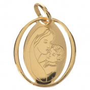 Vigin Mary and baby jesus oval pendant in 18k gold 0,73 grammes