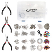 1000pcs Deluxe Silver Plated Jewellery Making Kit by Kurtzy - Includes Jump Rings, Lobster Clasps, Waxed Cord & Heart Pendant - Great for Making Friendship Bracelets, Necklaces, Earrings and More