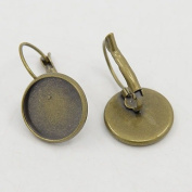 10pcs Bronze Colour French Lever Back Earrings Base 14mm Bezel Trays For Cameo's Cabochon
