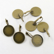 10pcs Antique Bronze Colour French Lever Back Earrings Base 12mm Bezel Trays For Cameo's Cabochon